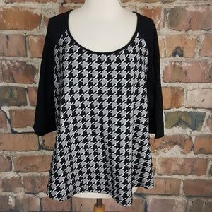 Junarose Black White Houndstooth Top sz L 1X Plus